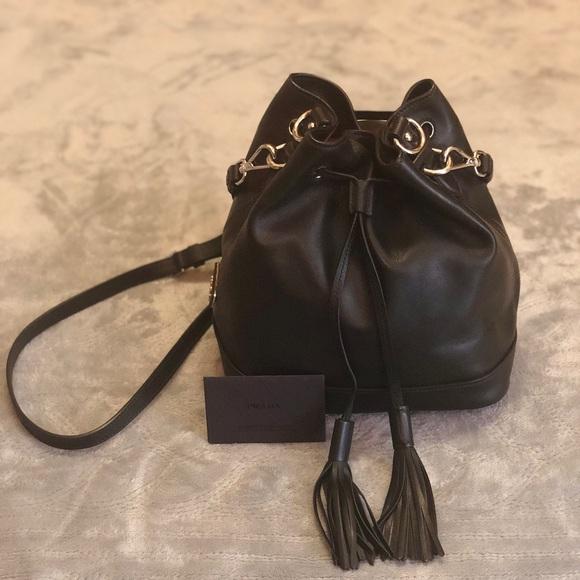 65ef79d4233889 Prada soft Calf leather Fringe Bucket bag purse. M_5b709852f414528614ca31ec